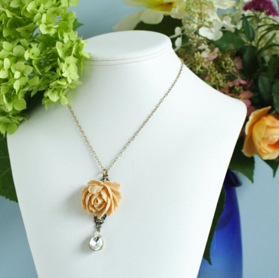 Statement Necklace, Flower Necklace, Beige Rose Necklace With a Beautiful Clear Vintage Crystal Jewel, Gift For Mom