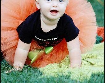 "Halloween, Thanksgiving Tutu - My First Pumpkin Tutu - Custom Sewn 6"" Tutu - For Autumn & Fall Festivals - tutu only - Sizes up to 12 months"