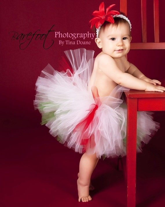 Christmas Candy Cutie - Custom Sewn Tutu - red, white, and green peppermint inspired tutu - up to 12'' long - sizes Newborn to 5T