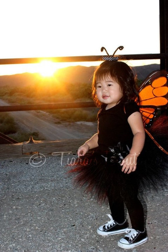 Midnight Monarch Pixie - Sewn 8'' Infant Pixie Tutu & Butterfly Wings - Newborn up to 12 months - Perfect for 1st Birthdays and Halloween