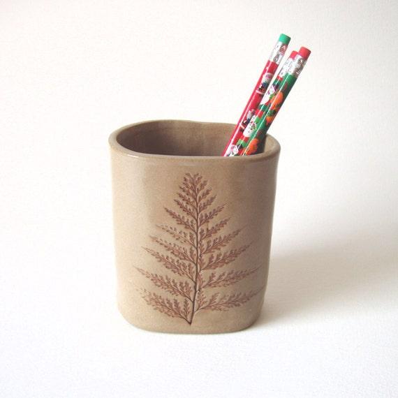 Fern Leaf Pencil Pot by KensGardenPottery on Etsy