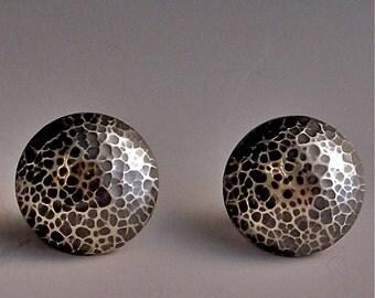 lunar landscape earrings  sterling silver hand forged dome earrings
