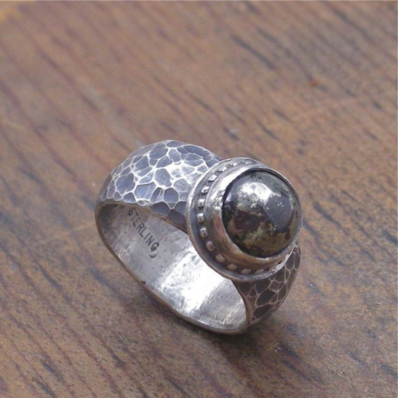 Fools Gold Ring sterling silver and iron pyrite