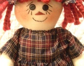 Little Bit Prim Raggedy Ann type doll in Americana handcrafted by yellowsweetpotato