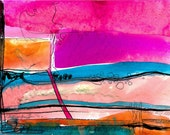 """Pink, Blue, Original Abstract Painting, Contemporary, Modern, art """"Abstraction 27""""  by Kathy Morton Stanion EBSQ"""