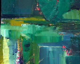 """Green Heart painting, Abstract Oil, Art, Original Oil art painting GalleryWrapped Canvas by """"HEART IMPRESSIONS 3"""" Kathy Morton Stanion EBSQ"""