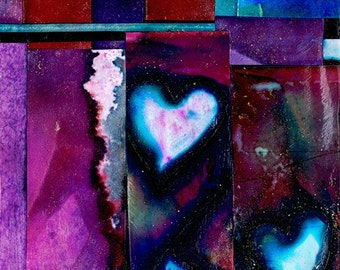 Heart Art, Heart Fancy - Original Mixed Media painting collage CHUNKY PAGE by Kathy Morton Stanion EBSQ