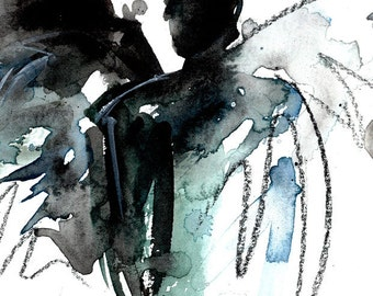 Angel 7 - Original Abstract Watercolor Painting in black mat by Kathy Morton Stanion