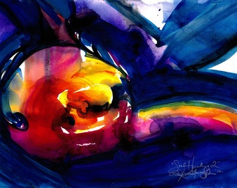 """Spiritual Red, yellow, Purple, Black, Blue, Abstract Painting, Watercolor Art, Original """"Soul Healing 2"""" by Kathy Morton Stanion EBSQ"""
