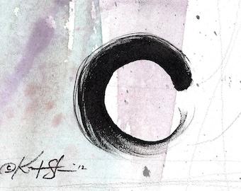 "Enso Painting, Zen Circle Abstract Art, ""The Enso Of  Zen 6"" Original Contemporary Modern Zen circle art on Canvas Kathy Morton Stanion EBSQ"
