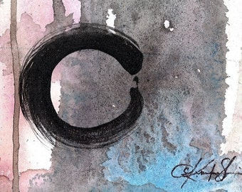 The Enso Of  Zen 7 ...  Original Contemporary Modern Zen circle art painting on Canvas by Kathy Morton Stanion EBSQ