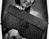 Smart Story in Envelopes  - 1940s Vintage Knitting Bag / Purse Pattern - plus BONUS Cover Model - Digitally Restored PDF e-Book