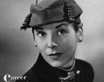 The Versatile Beret - 2 in 1 Vintage Crochet Hat Patterns - 1940s 50s - PDF eBook