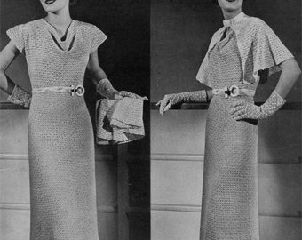 Vintage Crochet Dress Pattern PLUS Cape and Hat, 1930s