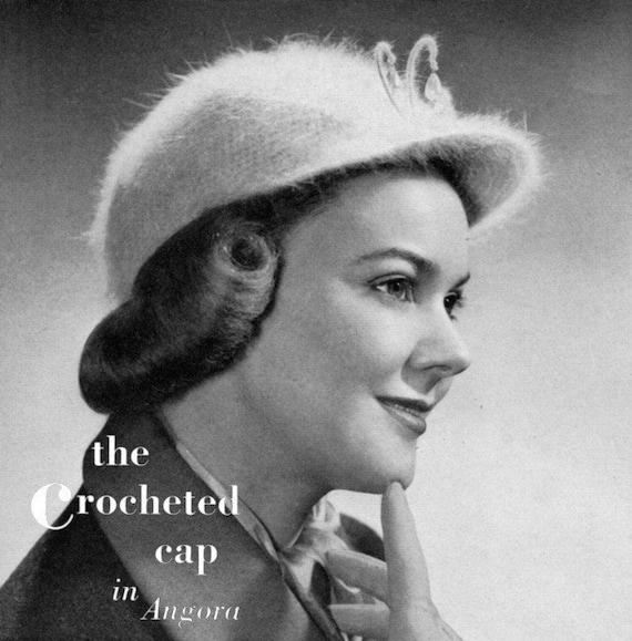 The Chrocheted Cap in Angora, Vintage Crochet Hat Pattern - circa 1940 - PDF eBook