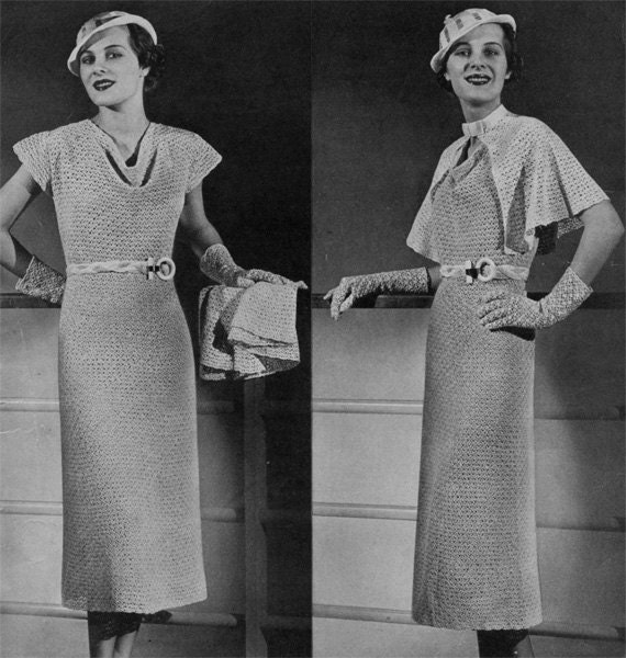 vintage crochet dress pattern plus cape and hat 1930s. Black Bedroom Furniture Sets. Home Design Ideas
