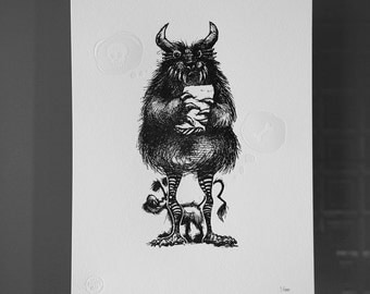 Monster - Letterpress Print