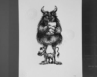Monster - Letterpress Print