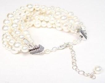 Cream Pearl Wedding Bracelet, Layered Multi Strand Bridal Jewelry, Ivory Jewelry, chunky Six Strand diamond white, soft ivory bauble, bubble