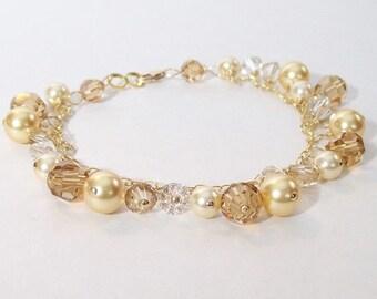 Champagne Brown & Gold Wedding Bracelet, Brown Weddings, Gold Bridesmaids, Champagne Weddings, Pearl Crystal Cluster latte, cafe, chocolate