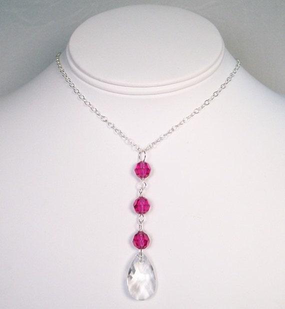 Fuchsia Hot Pink  & Crystal Teardrop Bridesmaid Necklace, raspberry, watermelon, guava, begonia, valentine, petunia, posie, vintage berry