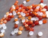 Fire Opal Beads, Mexican Fire Opal Rondelles, Set of 20 (Twenty) 2mm Stones, Natural Gemstones, Jewelry Supplies, Tiny Opals (L-FO1)