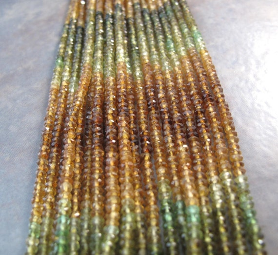 Petrol Tourmaline Beads, Faceted Rondelles, Tiny Beauties, 2.5-3mm, 14 Inches of Microfaceted Gemstones for Making Jewelry (R-Tou2)