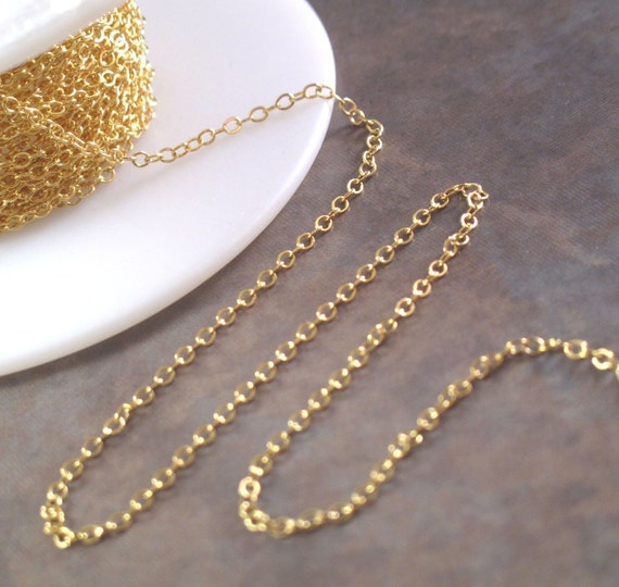 Gold Flattened Cable Chain - Back In Stock! - By The Foot - 1.8mm Gold Filled Flatted Cable Chain for Making Jewelry (997af)