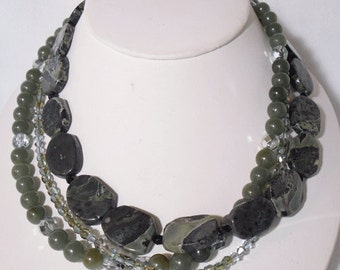 Natural Green and Black Rhyolite necklace with earrings