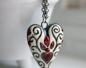 Ceramic White, Black and Red Heart Pendant necklace Free USA Shipping