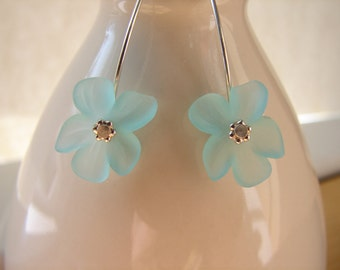Lucite Flower Earrings - Aqua with Sterling Silver