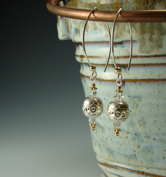 Sterling Silver Crystal and Gold Long Dangle Earrings