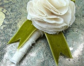 Fabric Flower Boutonniere, Wedding, Rose Boutonniere