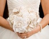 Fabric Bouquet - Wedding, Fabric Flower Bouquet - Vintage Wedding, Bridal Bouquet, Wedding Bouquet, Wedding Accessory