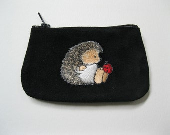 HEDGEHOG AND LADYBUG Coin Purse on  Black Leather Suede