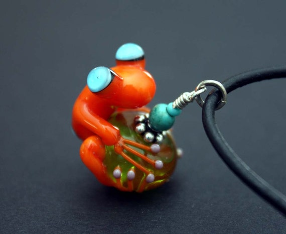 Ozzy the Orange Glass Frog Bead on Black Leather with Sterling Silver Accents