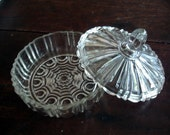 Vintage -Home & Living - Home Decor -  Vintage Glass  - Candy Dish w Lid - Ribbed Glass - 1940 50 -  Mamaw's Candy Dish