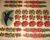 Paper Goods - Transfer Sheet Decals  - Vintage Paper - Blue Birds - Pink Roses, - Flowers.