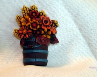 Vintage Jewelry Brooch Fall Flowers Rustic Colors Holiday Brooch