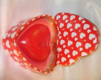 Valentine - Tin Heart - Container w Red Heart Candle -Vintage Home Decor  Tin - Red White Heart Tin Box -