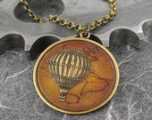 Hot Air Balloon Antiqued Brass Map Necklace - Around the World in 80 Days by COGnitive Creations
