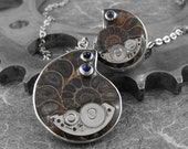 Steampunk Ammonite Fossils Necklace and Ring Matching Set - The Fossilized Spirals of Time by COGnitive Creations