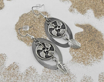 Leafy Oval Dangle Earrings - The Elementally Eternal by COGnitive Creations