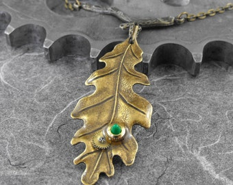 Steampunk Green on Brass Leaf Necklace- Sun Kissed Leaf of Time by COGnitive Creations