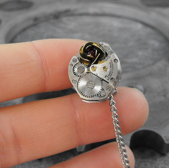 Steampunk Rose Mechanism Tie Tack Pin - Because She Is My Rose by COGnitive Creations