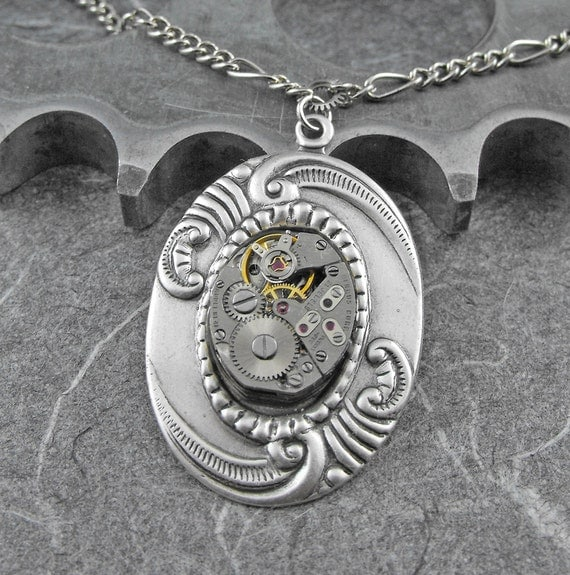 Steampunk Watch Movement Necklace - Taking Care of the Moments by COGnitive Creations