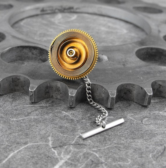 Steampunk Spiral Silver Brass Tie Tack Pin - The Springing Mind by COGnitive Creations