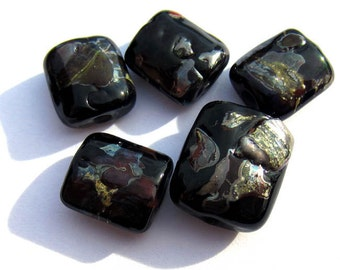 5 SRA Handmade Nugget Lampwork Beads, with blown shards in black, silver and deep red