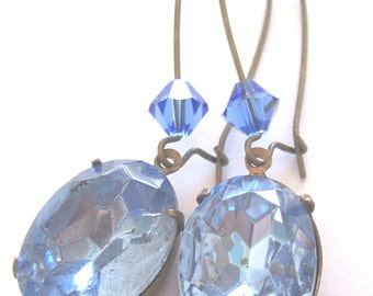 Sapphire Vintage Faceted Jewels Brass Earrings with Swarovski Crystals