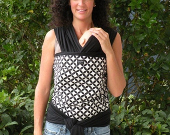 ORGANIC COTTON Baby Wrap/Sling Carrier-BLack Diamonds-Newborn through Toddler-DVD Included-All Wraps are reversible-Just Give It a Flip